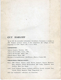 Guy Harloff, Exhibition Catalogue, 1961, back