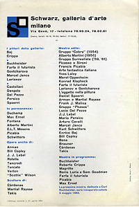 Takis catalogue, Galleria Schwarz, 1962, back
