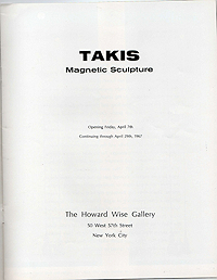 takis, magnetic sculpture, exhibition catalogue, 1967, title page
