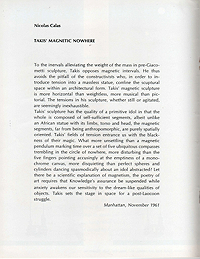 takis, magnetic sculpture, exhibition catalogue, 1967, text by nicolas callas