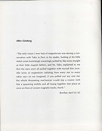 takis, magnetic sculpture, exhibition catalogue, 1967, text by allen ginsberg