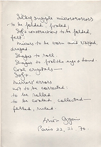 Brion Gysin, Untitled Text, Gette's Crystals, 1970