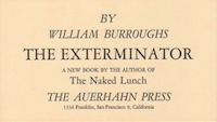 William S. Burroughs, The Exterminator, Announcement by the Auerhahn Press