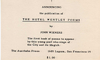 John Wieners, The Hotel Wentley Poems, announcement