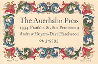 Auerhahn Press business card