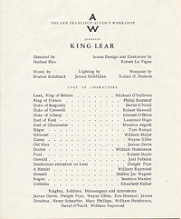 Program for a performance at the San Francisco Actor's Workshop, King Lear, 1961