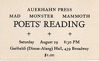 Mad Monster Mammoth Poetry Reading, announcement card