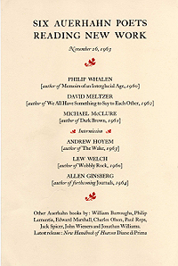 Six Auerhahn Poets Reading, November 26, 1963
