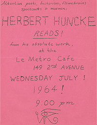 The flyer advertises a reading by Herbert Huncke to take place at Le Metro Cafe in New York on 1 July 1964
