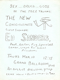 Handbill announcing lecture by Ed Sanders (possibly an imitation done in Fuck You style)