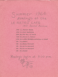 Flyer advertising readings at Le Metro Cafe in summer 1964