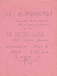 Flyer advertising reading by Tuli Kupferberg at Le Metro Cafe on 8 July 1964