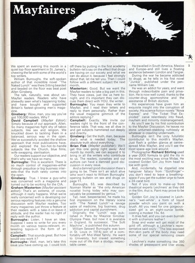 Untitled Burroughs interview in Mayfair