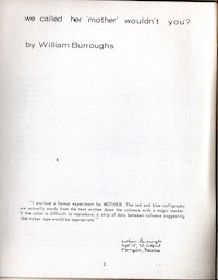 William S. Burroughs, We Called Her Mother Wouldn't You? from Mother 3, 1964
