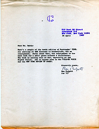 1965 Letter from Ron Padgett about the publication of Time