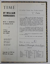 William Burroughs, Time, Lettered Edition, Copy G