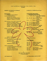 American Theatre for Poets schedule, winter-spring 1965