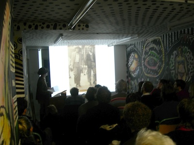 Oliver Harris speaking at the Last Tuesday Society, Photo by Ian MacFadyen