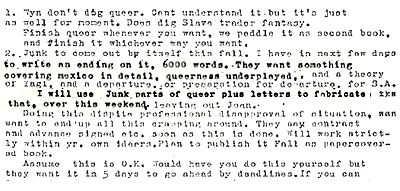 Letter from Allen Ginsberg to William S. Burroughs indicating Ginsberg's willingness to expand Queer