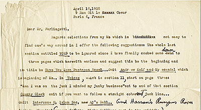 William Burroughs letter to Lawrence Ferlinghetti, 18 April 1958