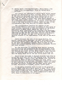 Index to Burroughs-Balch Correspondence, Page 1