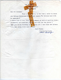 Letter from William Burroughs to David Solomon, 27 Jan 1961