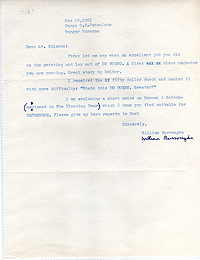 Letter from William Burroughs to David Solomon, 15 May 1961