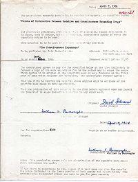 Contract for William Burroughs' contribution to LSD anthology, 7 April 1964