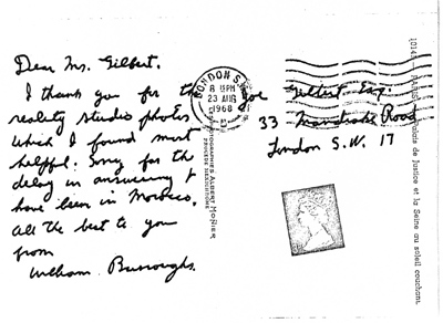 William S. Burroughs, Postcard to Joe Gilbert, Postmarked 23 August 1968