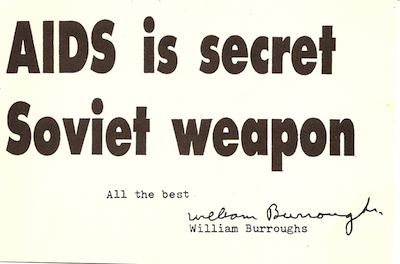 William Burroughs, Postcard inserted into Japanese edition of Blade Runner