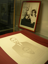 Photo of Ian Sommerville and print by Henri Chopin