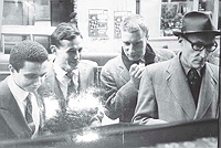 Jean Fanchette, Sinclair Beiles, Brion Gysin, and William Burroughs, Paris, 1959. Photograph by Jean Fanchette